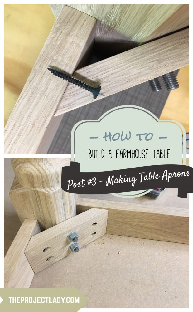 How to make apron pieces for a Farmhouse Table (Harp Design copycat) - theprojectlady.com