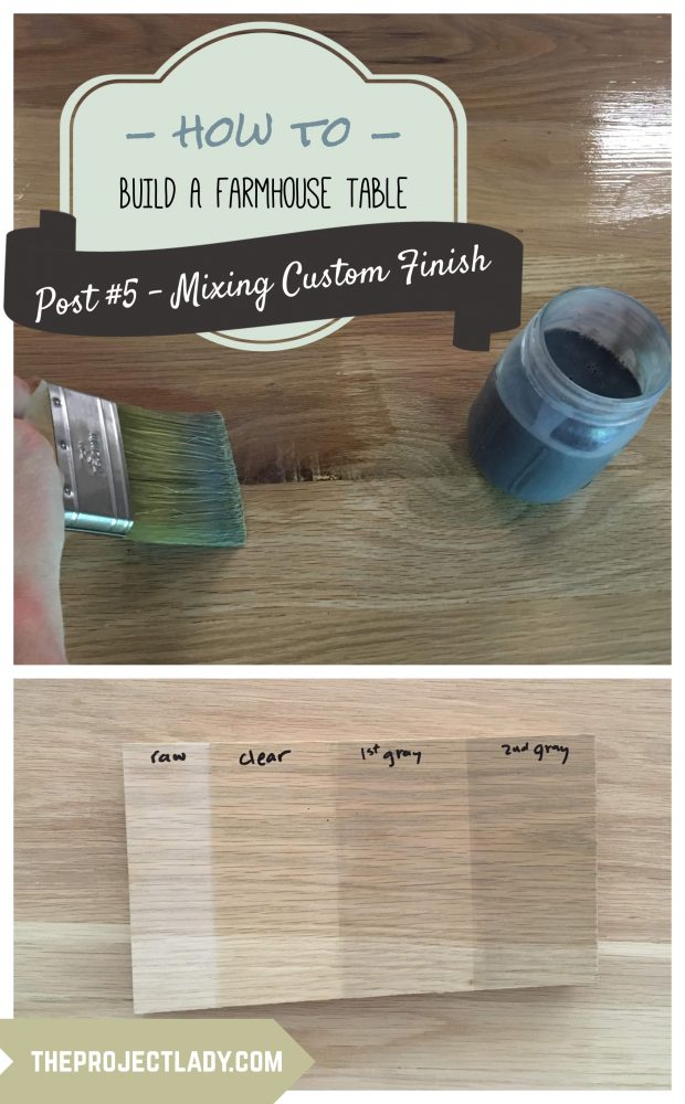 How to mix & apply tinted finish for a Farmhouse Table (Harp Design copycat) - theprojectlady.com