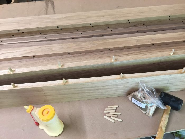 How to glue up a table top for a Farmhouse Table (Harp Design copycat) - theprojectlady.com
