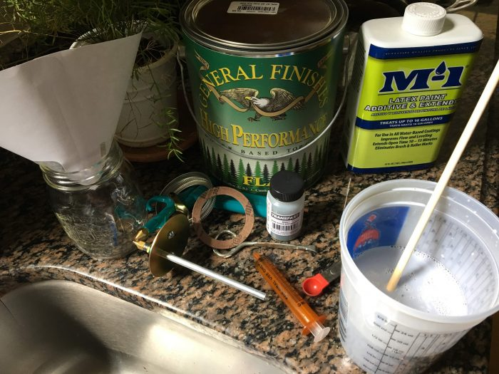 How to mix & apply tinted finish (Transfast Dye) for a Farmhouse Table (Harp Design copycat) - theprojectlady.com