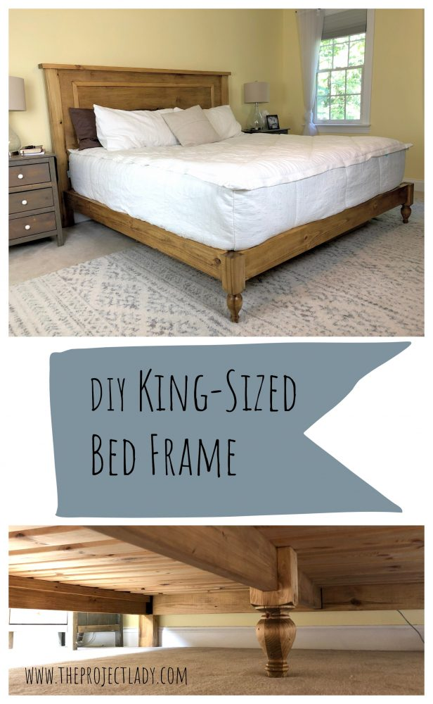 DIY King-Sized Bed Frame, Woodworking Build  www.theprojectlady.com